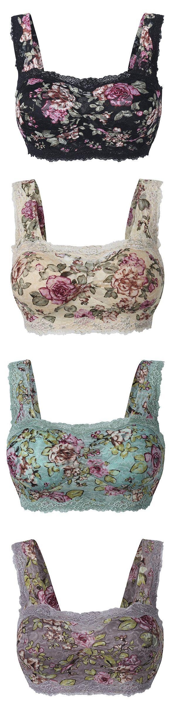 Plus Size Floral Lace Hem Bras Breathable Wireless Vest Bra