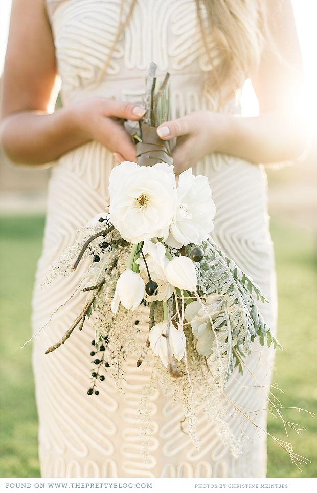 Cream & soft green bouquet | Photo: Christine Meintjes, Flowers: Leipzig, Dress: Jenni Button