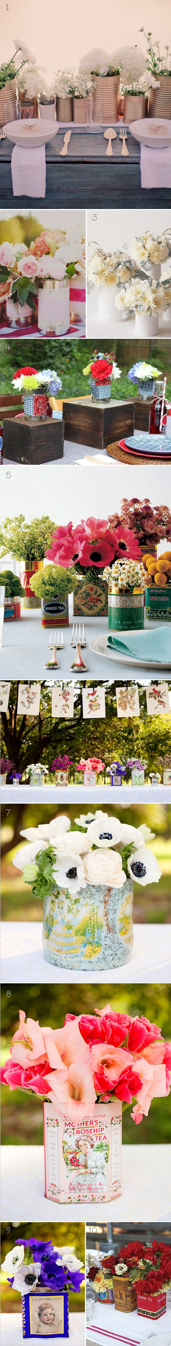Tintastic! using cans for centerpieces for a wedding on a budget