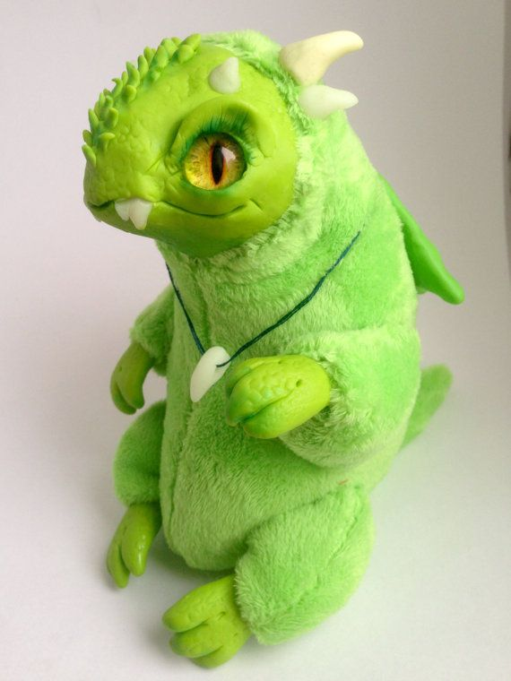 FANTASY PLUSH CREATURE  Baby Green Dragon Ooak by FoxyMocksy