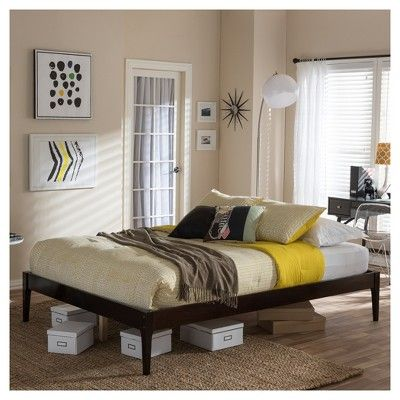"Bentley Mid - Century Modern Solid Wood Bed Frame - Queen - ""Cappuccino"" Dark - Brown - Baxton Studio"