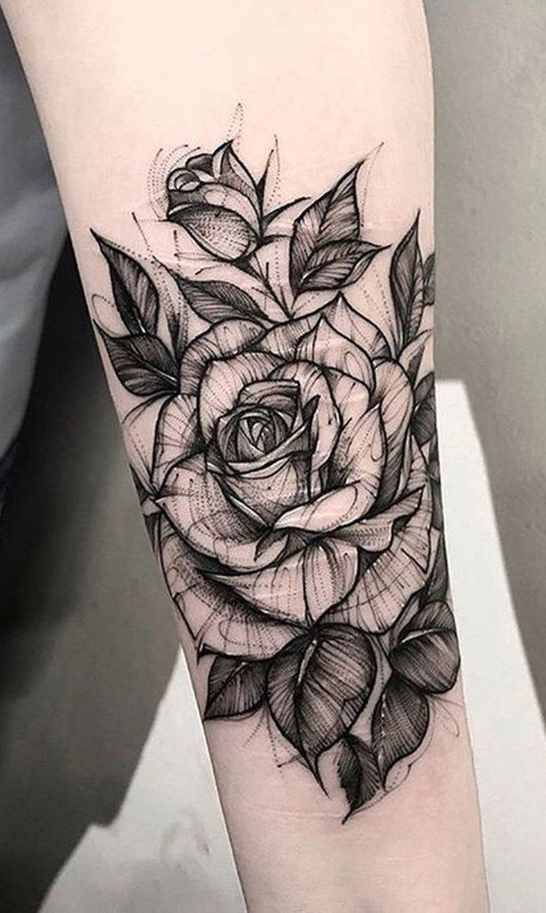 Black and White Sketch Rose Forearm Tattoo Ideas f…