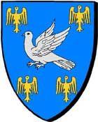 """""""d'azur à la colombe essorante d'argent cantonné de quatre alerions d'or""""; blason de la famille d'Allaire. 1443. ------- """"en glazur e goulm nijant en arc'hant, eilet gant pevar ererig, unan ouzh pep konk"""""""