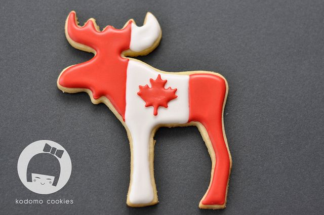 Canada Day Moose Cookie by akobayashi, via Flickr hopes for my children to enjoy Canada Moose sugar cookies; whether going to Alberta, Ontario, or Newfoundland.