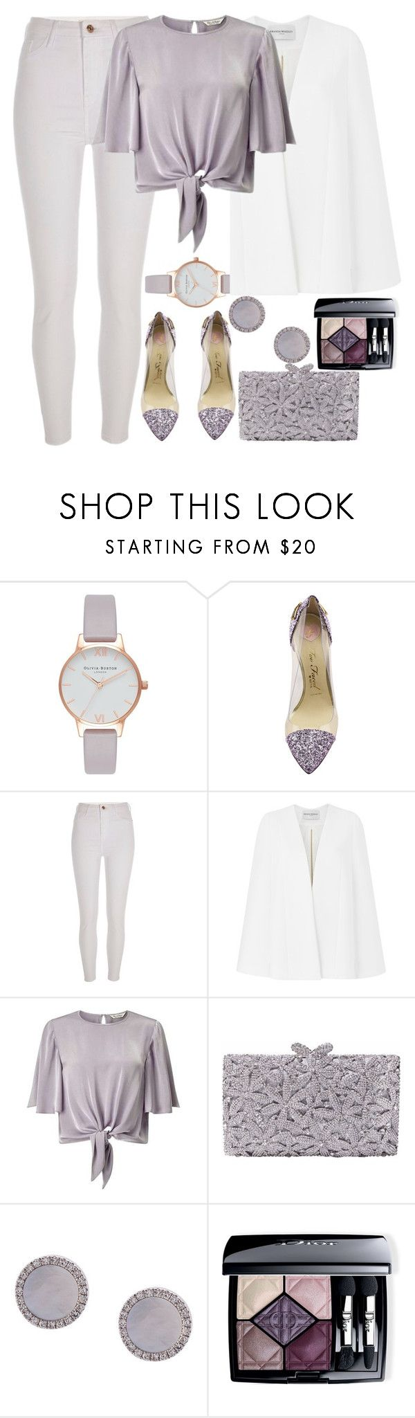 """Lavander look"" by mihai-theodora ❤ liked on Polyvore featuring Olivia Burton, Too Faced Cosmetics, River Island, Amanda Wakeley, Miss Selfridge, Nissa Jewelry, EF Collection and Christian Dior"