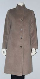 Schneiders Salzburg Womans Wool and Angora Coat Style 42577 MARLENE in Taupe. Schneiders Salzburg virgin wool and angora coat. Real horn button details, versatile taupe color. Front slant pockets, fully lined, true fit. 41 inch length (104 cm). Austria.