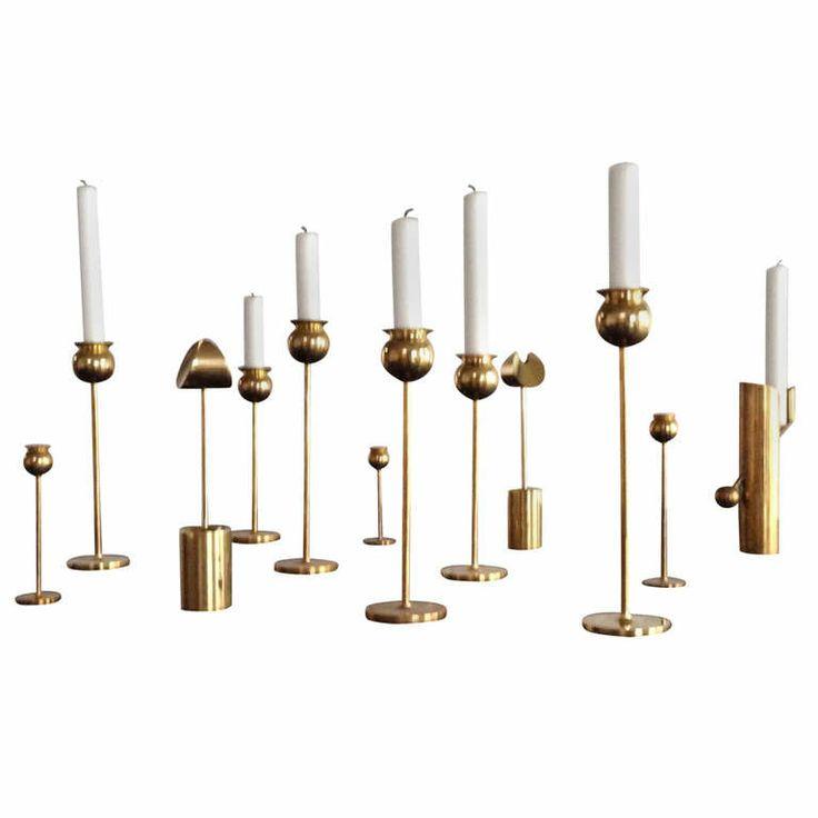 Pierre Forsell Brass Candlesticks For Skultuna Sweden   1stdibs.com