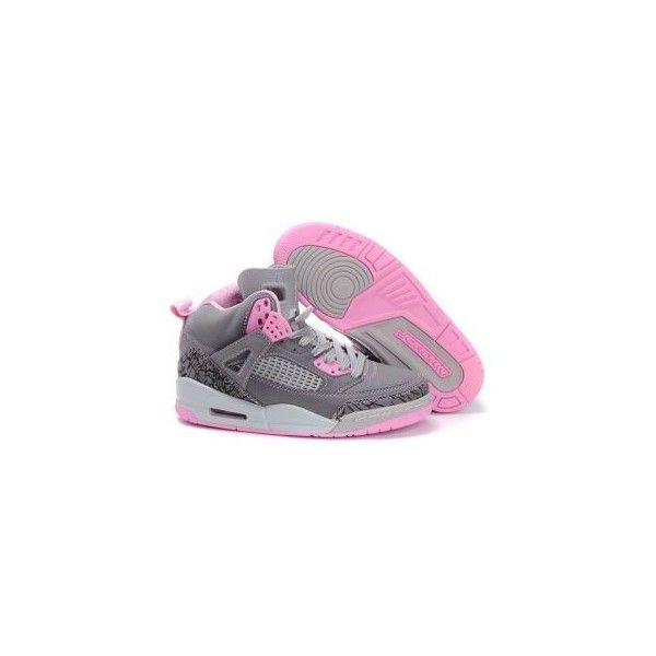 Women's Air Jordan Spizikes 3.5 Grey Pink ($70) ❤ liked on Polyvore featuring shoes, sneakers, jordans, tennis shoes, grey shoes, tennis sneakers, pink sneakers, pink tennis shoes and elephant print shoes