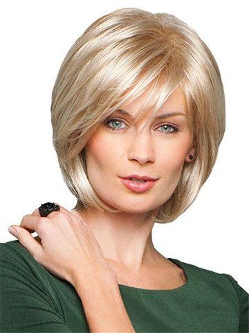 FREE SHIPPING!  Charming Human Hair Wig Short Straight Side Bang Fluffy Capless Virgin Remy Mono Top SKU260946