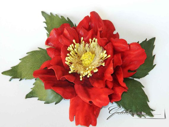 LEATHER RED wild rose   flower  pin brooch hair hat by Galelina, $58.00
