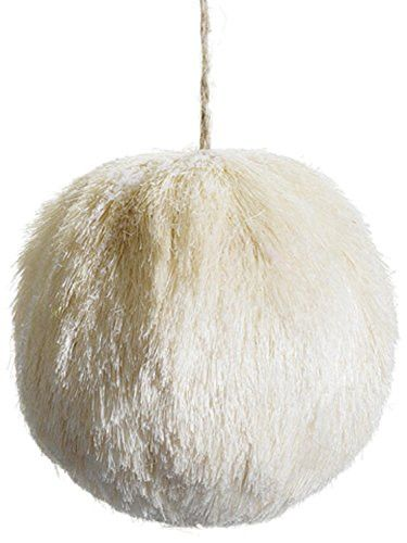 Felices Pascuas Collection 5.5 inch Snow Drift Glitter Frosted Cream Natural Sisal Christmas Ball Ornament