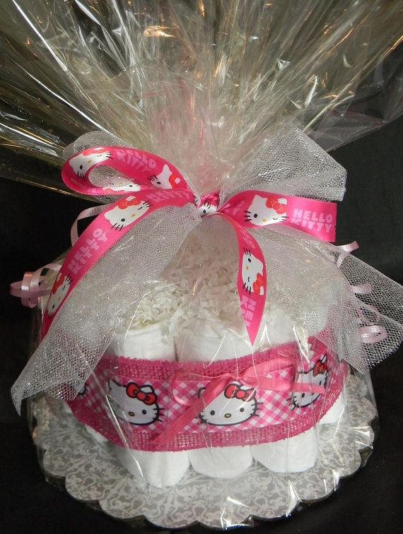 Hello Kitty Diaper Cake FREE SHIPPING by tendermomentsllc on Etsy, $34.95
