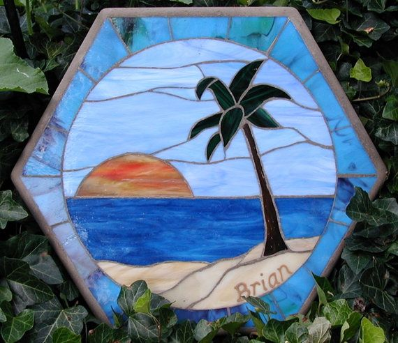 Beach Scene Mosaic Stepping Stone By Sunnydaystudio On Etsy 150 00 Stained Gl Pinterest Stones And