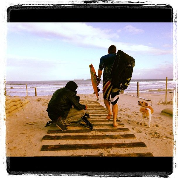 """Early morning filming with Rudy, Daemon, & a random pooch at Dolphin Beach, Table View, Cape Town! Out on a Limb #Charity Expedition 2012."" - My #Instagram June 9, 2012"