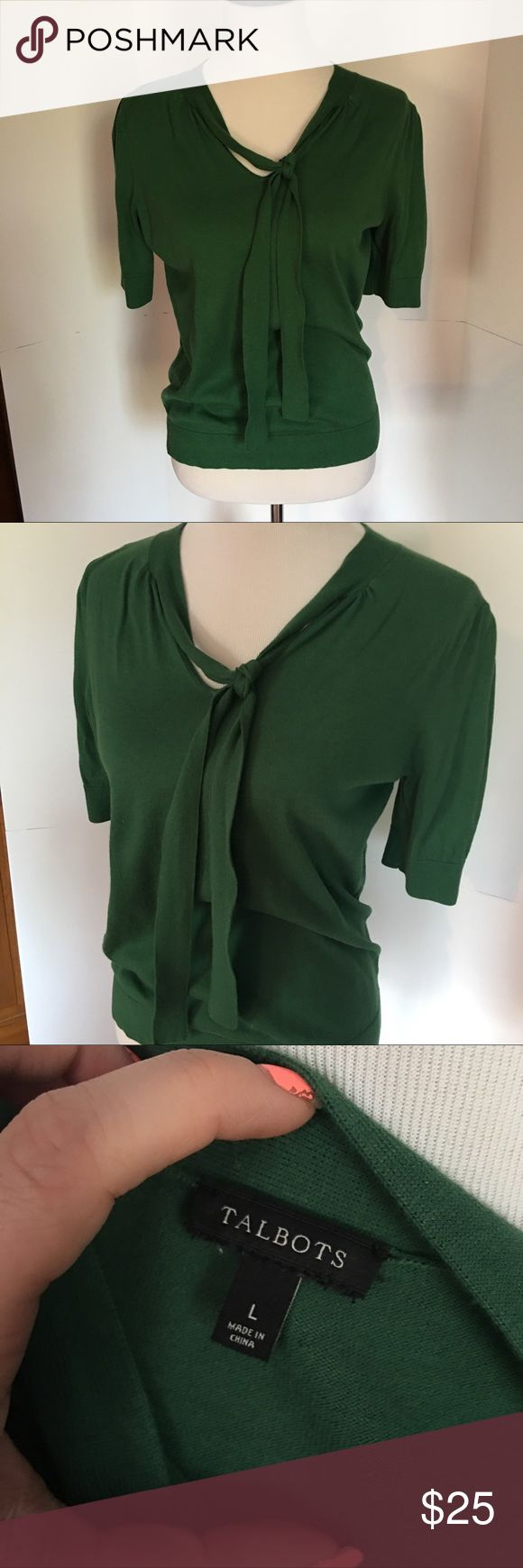 Green talbots sweater top size L Green short sleeve top with neck tie. Lovely vibrant green color. Great for work. Size large from talbots Talbots Tops