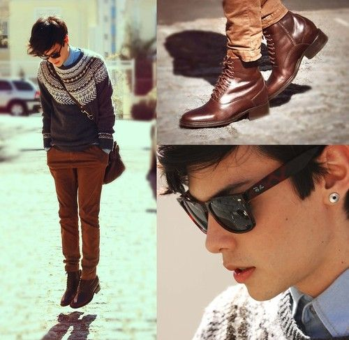 Agh I love everything about this outfit. Fair isle, warm colors, gorgeous boots, hot shades.
