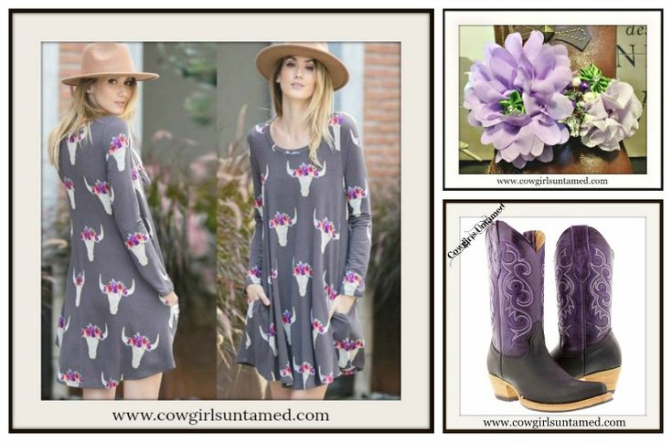 COWGIRL GYPSY DRESS Floral Garland Steer Head Long Sleeve A-Line Dress / Tunic / Boots Garter / Purple Leather Cowgirl Boots  #Dress #minidress #tunictop #longsleeve #steer #garland #cowgirl #western #gypsy #boho #floral #garland #flowers #boots #purple #lilac #lavender #grey #pink #fashion #style #bootgarter #bootcuff #handmade #wholesale #beautiful #onlineshopping #boutique