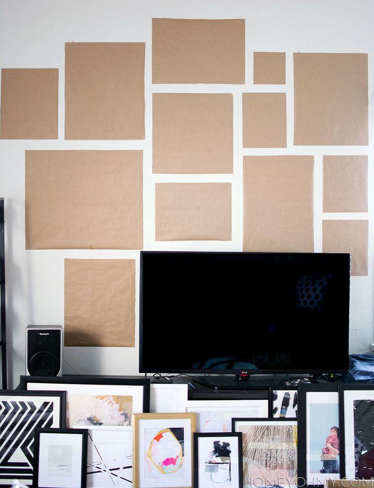 Plan an art gallery wall with kraft paper