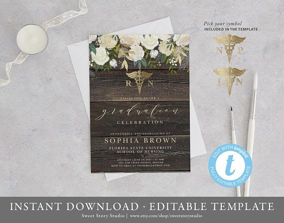 Nursing Degree Graduation Invitation Card | Instant Download, Templett, Printable | RN, BSN, NP, Lpn College, White Floral | DC026