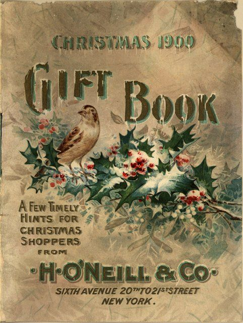 Vintage Christmas Gift Book, bird with holly
