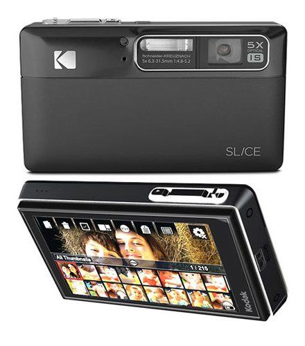 Slice Digital Camera in black by Kodak. Equipped with a touchscreen and a 5x optical zoom and 14 megapixels with the ability to record video in HD. This camera has a Share button which allows you to share your pictures or videos to Facebook, Flickr or YouTube. http://www.zocko.com/z/JGwb9