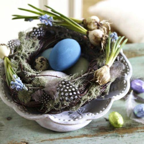 Ostern 2014 – coole Osterdeko selber basteln - Ostern 2014 frühlingsblumen blau grün