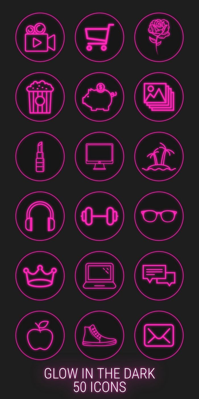 50 Neon Highlight Icons Pink Neon Instagram Story Highlight Etsy In 2020 Aesthetic Instagram Theme Pink Instagram Iphone Icon