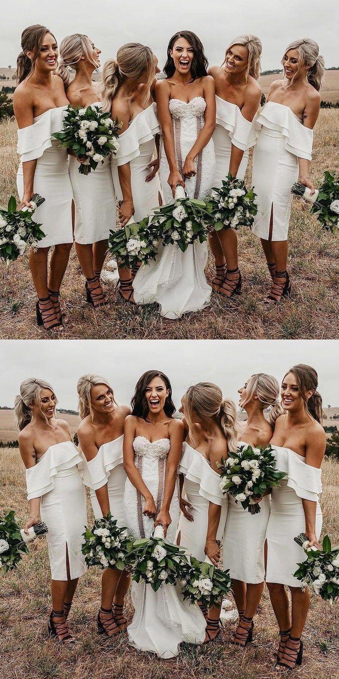 0a63535b1ec Gorgeous Off the Shoulder Ivory Short Bodycon Bridesmaid Dresses ...