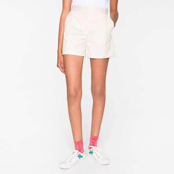 Paul Smith Women's Cream Cotton Shorts With Frills (£165) ❤ liked on Polyvore featuring shorts, ruffle trim shorts, ruffle shorts, cotton shorts, zipper shorts and ps paul smith