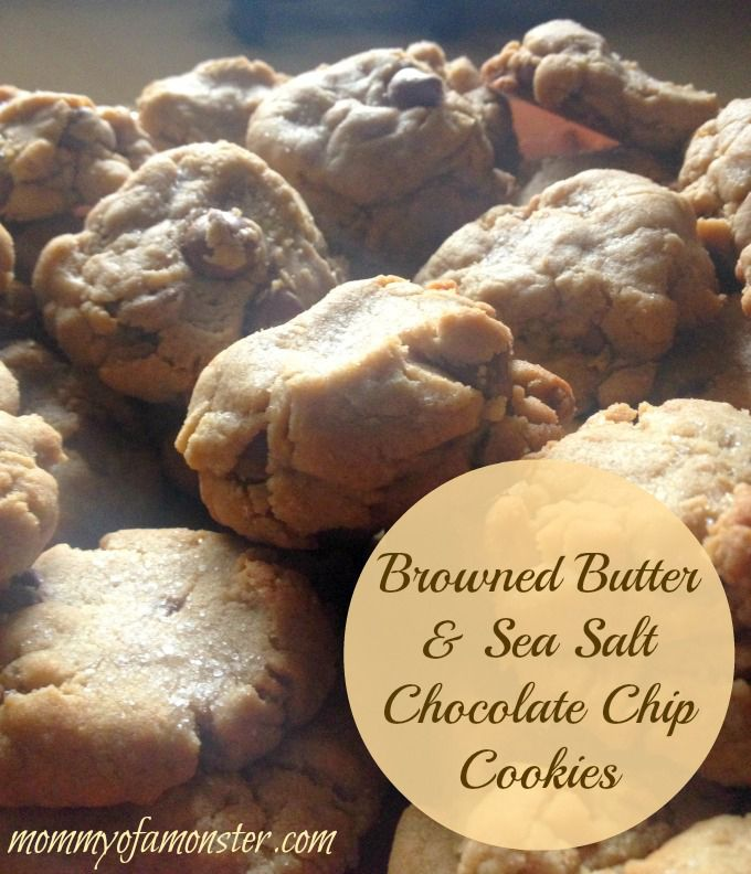 These are the BEST homemade chocolate chip cookies that you may ever eat.  The browned butter makes these cookies taste of caramel and the sea salt makes all of the flavors pop.