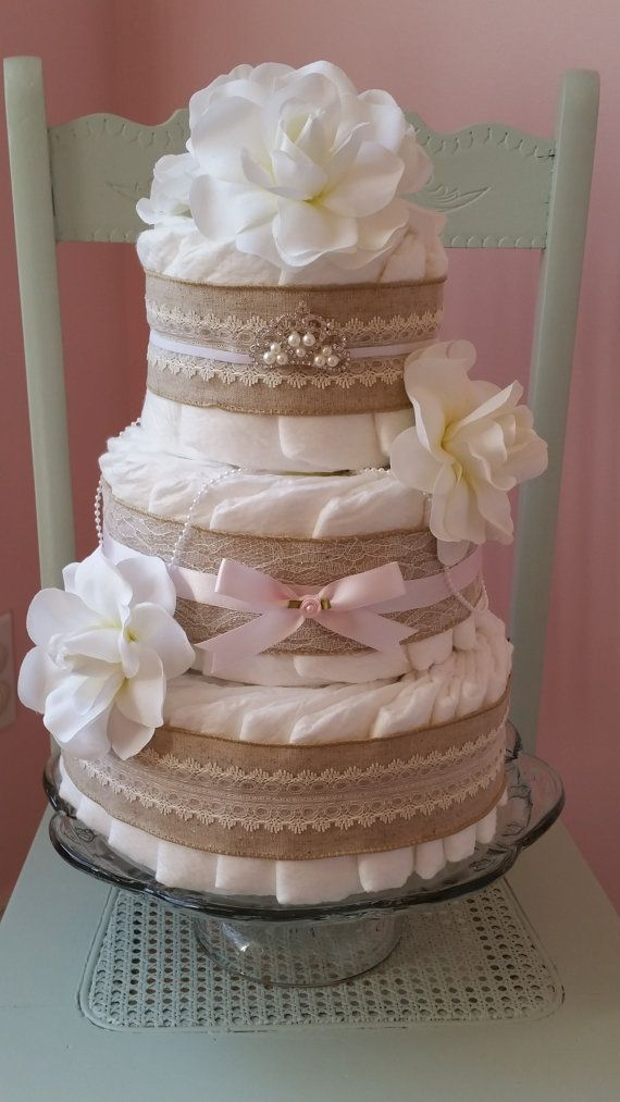 Girl Diaper Cake Shabby Chic Burlap and Lace, Pink,Cream,Chic,Pearls Chiffon…