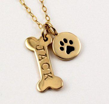 Oro, joyería de mascotas, nombre collar, collar de pata de perro perro personalizado collar, impresión de plata de la pata, Perro hueso inicial encanto, regalo para el amante del animal doméstico