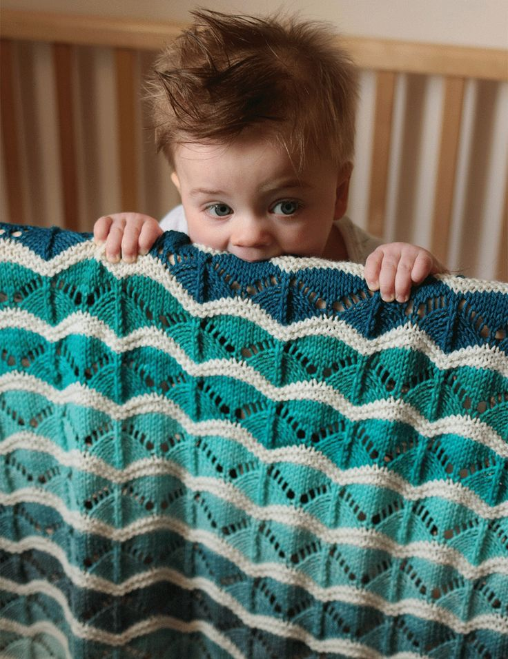"""Knitting Pattern Bounce Baby Blanket - Colorful combination of stripes and lace in two sizes: 27 (32)""""W x 33 (43)""""L."""