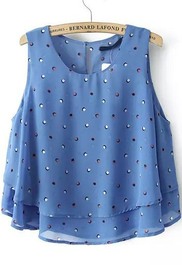 Blue Sleeveless Polka Dot Double Layers Vest US$18.79