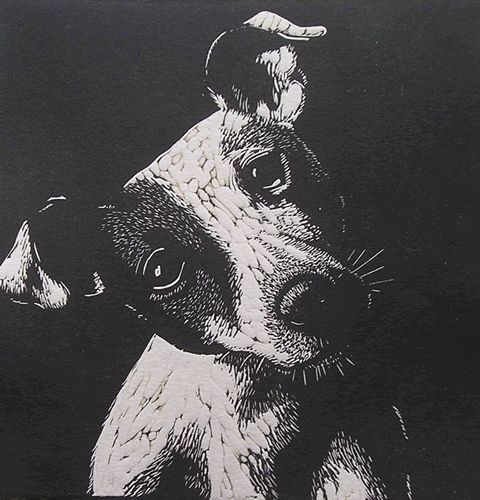 Puppy Linocut by Mary Collett