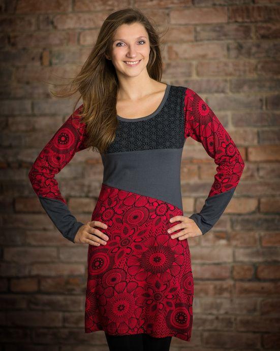 Šaty Flower - červeno černé