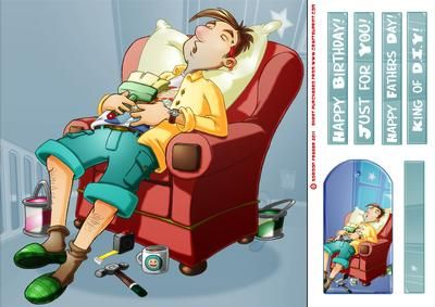 Sleepy DIY Dad 8x8 Quick Card on Craftsuprint designed by Gordon Fraser - Whoops! Dad caught sleeping on the job again! A great, fun, image showing a snoring Dad, fast asleep in his favourite chair....unused paintbrush in hand! Easy to make 8x8 design with various sentiment tiles, a blank tile and a matching gift tag. Great for Birthdays, Fathers Day or any other occasion! More versions of this design are available plus a kit! - Now available for download!