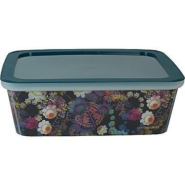 Cynthia Rowley Small Plastic Storage Box, Cosmic Black Floral | Staples