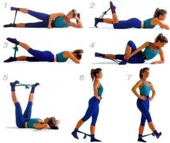 Упражнения для ног с резиновым жгутом