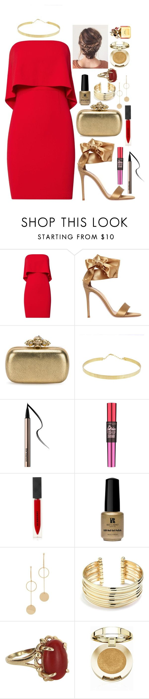 """Gryffindor Formal #6"" by xxmonnyxx ❤ liked on Polyvore featuring Jay Godfrey, Gianvito Rossi, Alexander McQueen, Lana, Maybelline, Burberry, Red Carpet Manicure, Cloverpost, Belk Silverworks and Vintage"