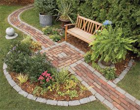 Build a Brick Pathway in the Garden  Build this handsome backyard feature in one weekend - Make a simple garden path from recycled pavers or cobblestones set on a sand bed. Learn all the details of path building, from breaking cobblestones to easy, fast leveling using plastic landscape edging.