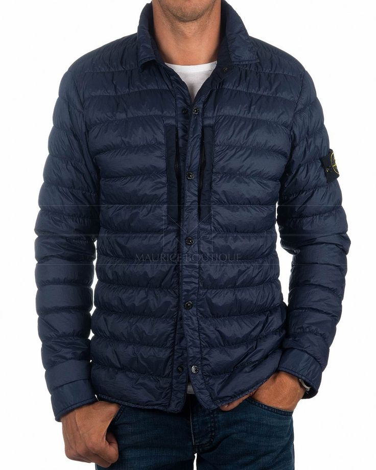 Navy Blue STONE ISLAND © Jackets Down - Dyed Micro Yard