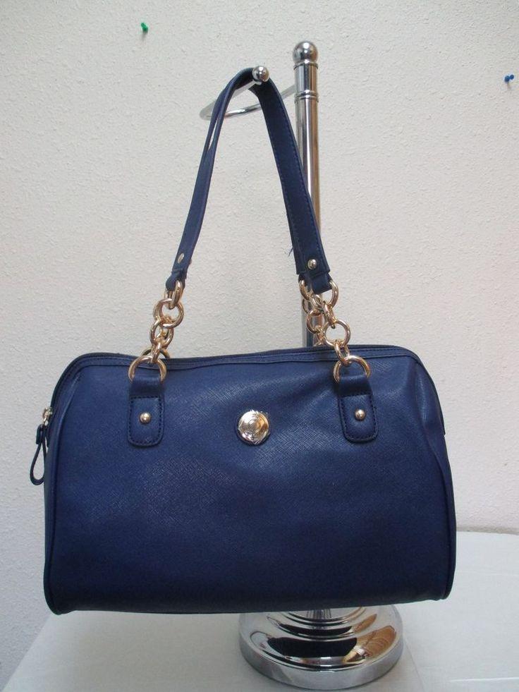 Tommy Hilfiger Handbags Satchel 6930205 968 Color Blue Gold Retail Price $79.00 #TommyHilfiger #Satchel