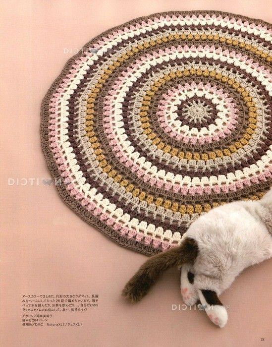Симпатичный круглый коврик крючком. Схема