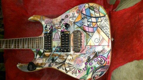 Handpainted custom guitar by Nic *memories*