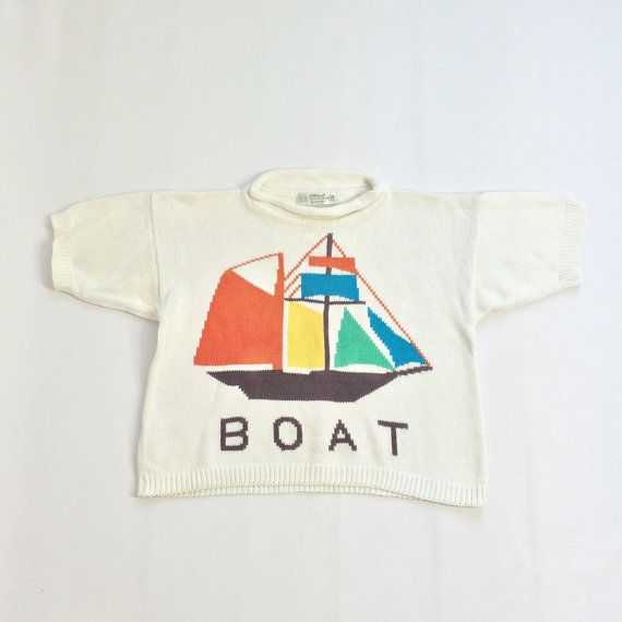 80s Cropped Sailboat Top White Sweater Tee Knit Cotton NAUTICAL Summer Colorful XS Small BOXY Shape Loose Retro Kawaii Womens Crop Boat