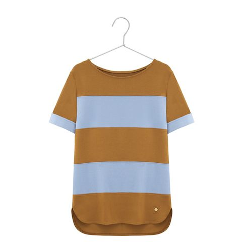 Stripe top in blue and carmel