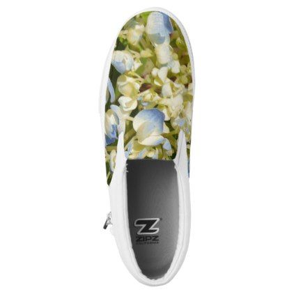 #Blue and creamy white hydrangea flowers photo Slip-On sneakers - #womens #shoes #womensshoes #custom #cool