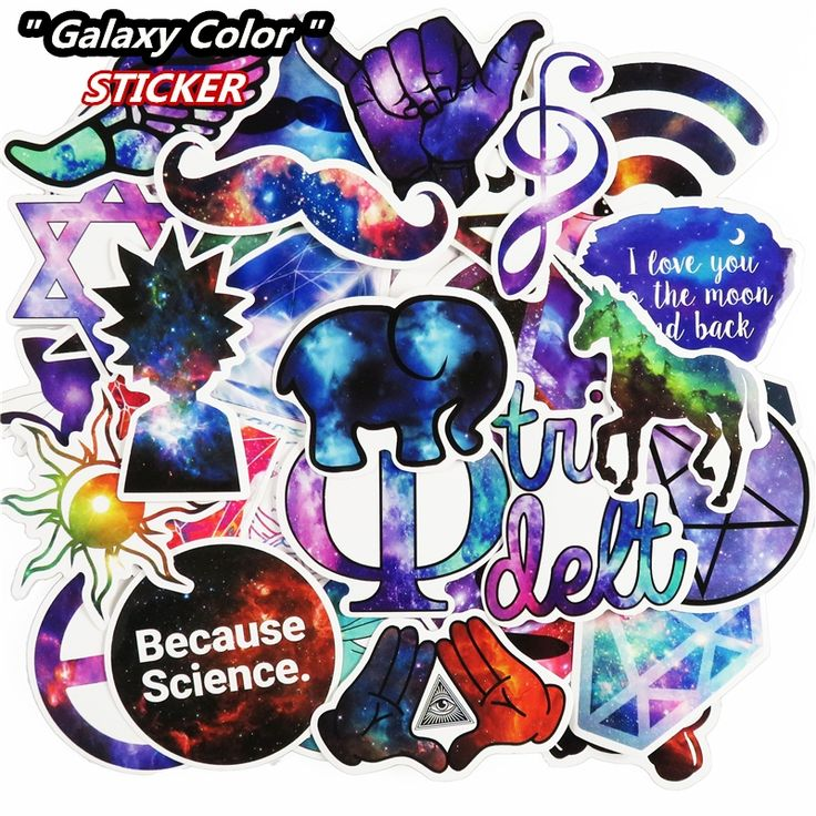 Hot Sale 51 Pcs Galaxy Stickers Mixed Funny Cartoon Jdm Doodle Decals Luggage Laptop Car Styling Bike DIY Waterproof Sticker