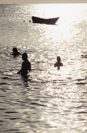 Bathing in the Zanzibar Ocean